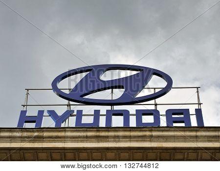 SOFIA BULGARIA - MAY 5: Logotype of Hyundai automotive company in Sofia on May 5 2016. Hyunday is a south korean automotive company founded in Seoul.