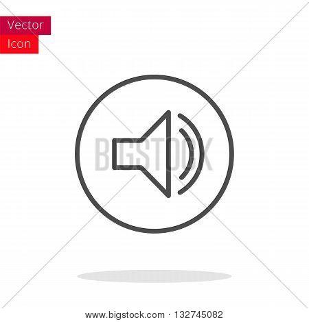 Sound Thin Line Icon. Sound Icon in circle. Vector Sound Icon. Round Sound Icon. Sound Icon On white background. Sound Icon Illustration.