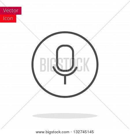 Microphone Thin Line Icon. Microphone Icon in circle. Vector Microphone Icon. Round Microphone Icon. Microphone Icon On white background. Microphone Icon Illustration.