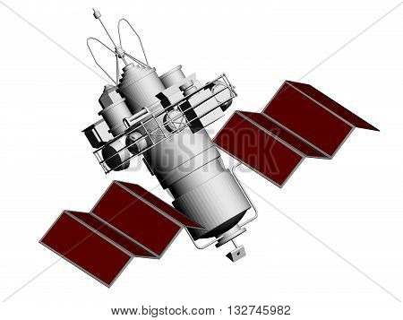 Vector illustration of an artificial satellite. Polygon. 3D. Isolated.