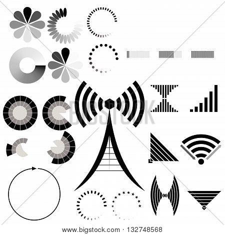 Vector set of indicators. Indicators load, signal level.