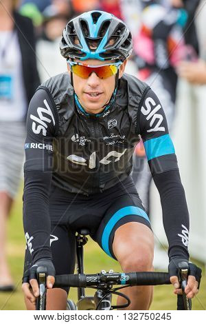 MELBOURNE, AUSTRALIA - FEBRUARY 1: Richie Porte before the start of the inaugral Cadel Evans Great Ocean Road Race