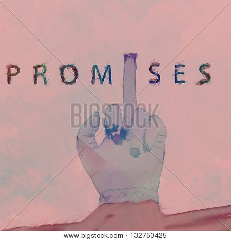 watercolor hipster background with middle finger and text Promises added
