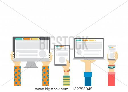 Group Hands Holding Smart Cell Phone Tablet Laptop Computer Monitor, Technology Concept Flat Vector Illustration