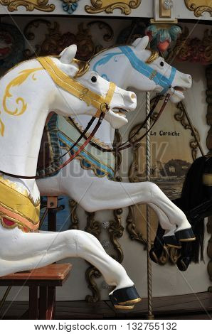 Bandol France - april 20 2016 : a picturesque carousel in city center