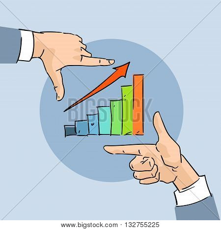 Financial Chart Bar Arrow Up Business Hand Sketch Graph Vector Illustration