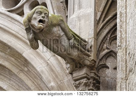 Weird gargoyles on the Cathedral of Carcassonne
