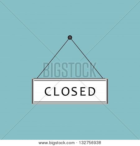 Vector illustration closed sign. Flat icon on blue background. Closed sign hanging on nail