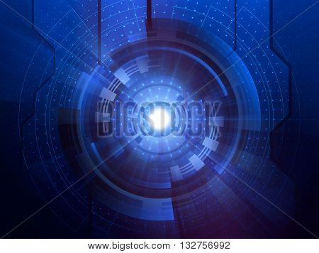Abstract blue futuristic digital technology background, Hi-tech concept
