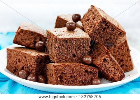 Delicious chocolate brownies close up selective focus