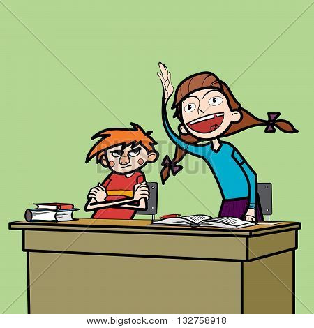 Schoolboy and schoolgirl in the classroom line art comic caricature. Girl student wants to respond to the instructions of the teacher. Losers boy glumly looking at the girl poster