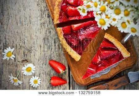 Summer strawberry cake with jelly top view blanck place for text