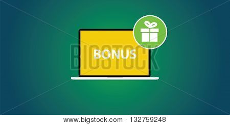 bonus with laptop and text and gift box icon on sidebar vector illustration
