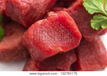 Beef Goulash Raw As Background, Top View