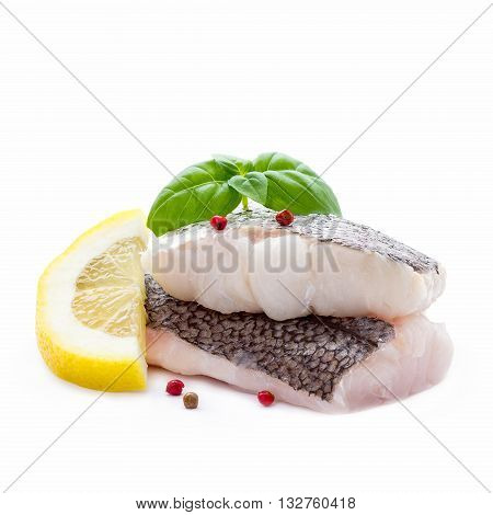 Hake Fillet With Skin And Lemon, Isolated
