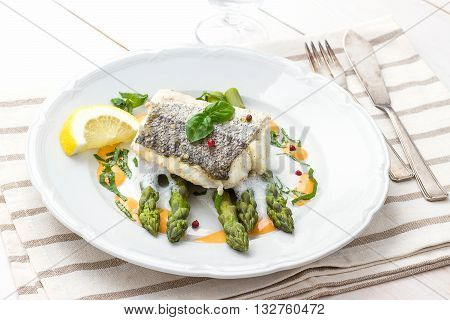 Hake Fillet With Asparagus Foam Sauce