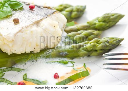 Fish Fillet With Asparagus Foam Sauce