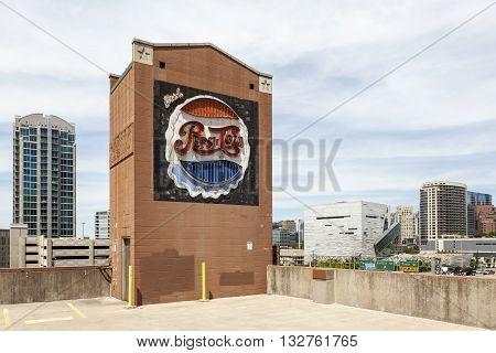 DALLAS USA - APR 7: Old Pepsi Cola commercial neon sign in the city of Dallas. April 7 2016 in Dallas Texas United States