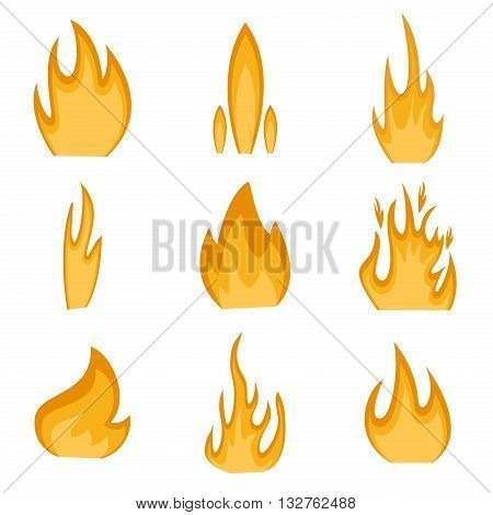 Collection of fire icons vector and fire flame danger hot energy elements. Ignite element fire flame and flammable blazing fire flame. Blaze design, explosion fire flame icon. Energy campfire set.