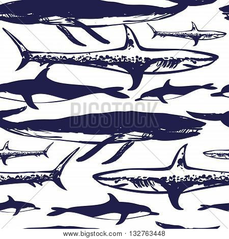 Vector seamless pattern illustration. Danger ocean: shark and whale.