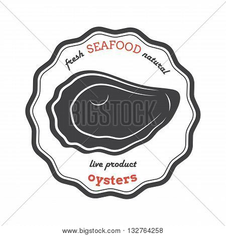 Vector oyster silhouette. Oyster logo. Oyster label. Template for restaurants stores food packaging. Seafood illustration.