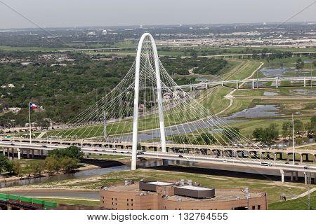 DALLAS USA - APR 7: The Margaret Hunt Bridge designed by Santiago Calatrava is the new landmark in Dallas. April 7 2016 in Dallas Texas USA
