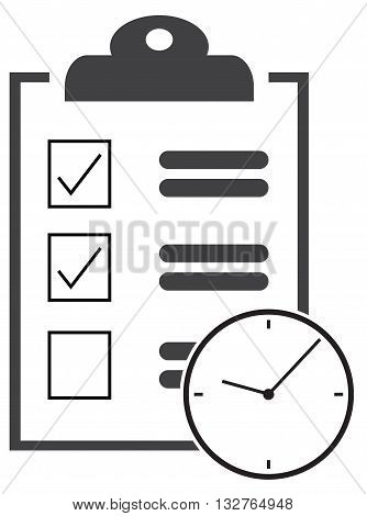clipboard & clock icon urgency business task prioritize