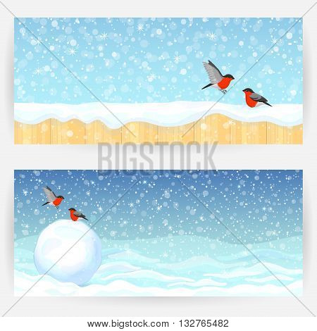 Two winter festive greeting cards with bullfinches, snow, snowball and wooden fence. Horizontally elongated rectangular backgrounds