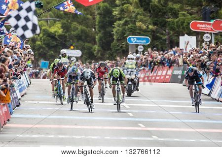 MELBOURNE, AUSTRALIA - FEBRUARY 1: The sprint finish with Gianni MEERSMAN leading in the inaugral Cadel Evans Great Ocean Road Race