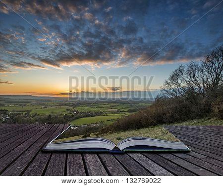 Stunning landscape image of sunset over countryside landscape in England
