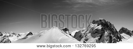 Black And White Panorama Of Snowy Mountains