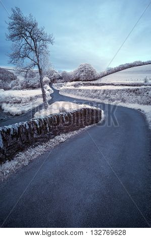 Stunning surreal color infra red landscape image of road winding through countryside