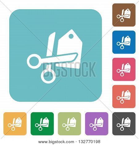 Flat price cut icons on rounded square color backgrounds.