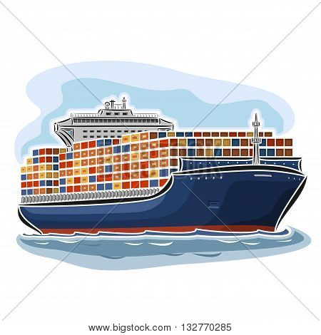 Vector illustration of logo for container ship carrier carry goods, consisting of dry cargo ocean merchant vessel container load, floating on the sea waves close-up on blue background