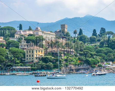 The famous scenic road between Portofino and Santa Margherita Ligure where you can find some of the most beautiful villas in the area and spectacular overlook. Province of Genoa in Liguria, Italy.