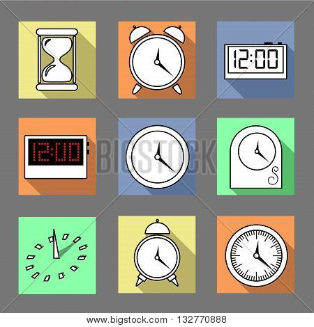 Vector. Set of graphic clocks icons. Sun clock digital clock table clock alarm clock sand clock. Isolated illustration