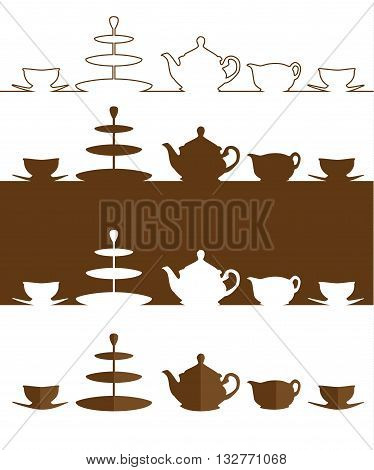Vector. Tea set. A silhouette of a tea pot milk jug cups saucers and 3 tier cake stand. Isolated illustration