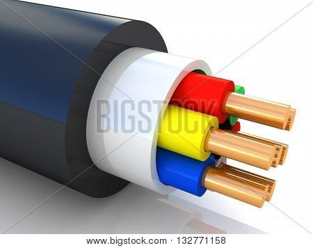 3D rendering of an electrical cable on white background