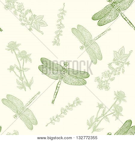 Dragonfly seamless pattern dragonfly background hand drawn vintage sketch vector illustration