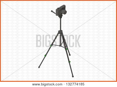 photocamera tripod isometric flat vector 3d illustration. camera on tripod isolated on white background.