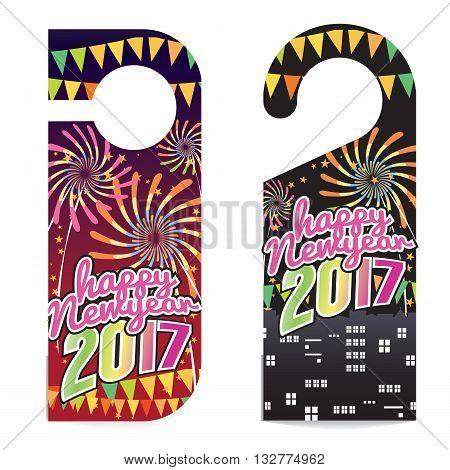 Happy New Year 2017 Door Hanger Vector Illustration. EPS 10