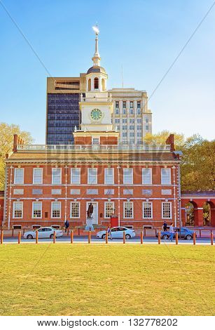 Independence Hall In Chestnut Street In Philadelphia