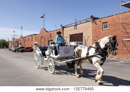 FORT WORTH USA - APR 6: Horse driven carriage in the Fort Worth Stockyards historic district. April 6 2016 in Fort Worth Texas USA