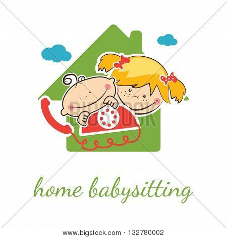 Home babysitter vector concept with funny boy and girl