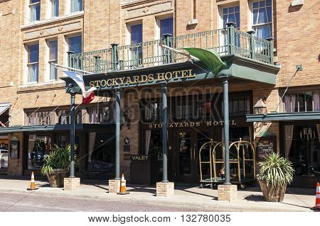 FORT WORTH USA - APR 6: The Stockyards Hotel in Fort Worth Stockyards historic district. April 6 2016 in Fort Worth Texas USA