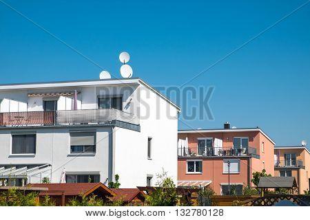 Modern residential houses seen in Berlin, Germany