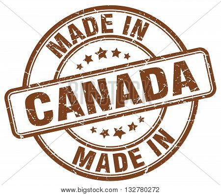 made in Canada brown round vintage stamp.Canada stamp.Canada seal.Canada tag.Canada.Canada sign.Canada.Canada label.stamp.made.in.made in.