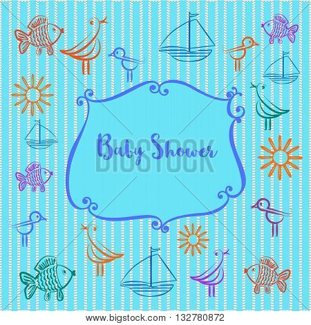 Baby photo album. Baby boyl shower invitation. Cute frame for photo. Doodle bird sun fish ship. Blue color. Decorative background. Template for baby boy photo album. Vector illustration.