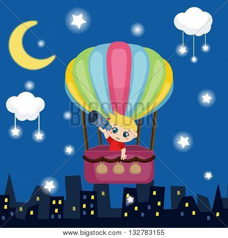 Little boy flying in a hot air balloon. Night background.