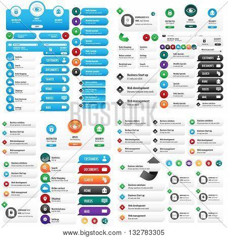 Online blue button design set for business